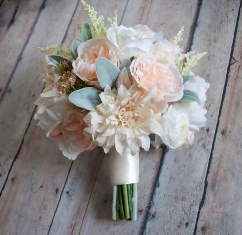 Our inspiration for bridal and bridesmaids' bouquets, down to the white double-faced satin wrapping the stems.
