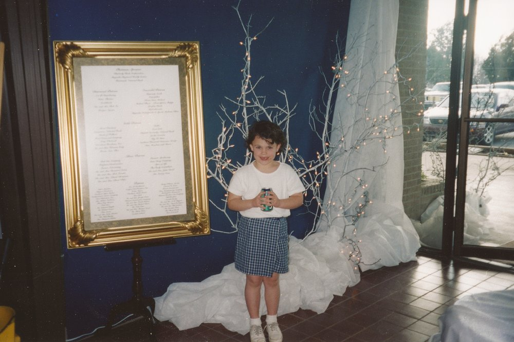 """""""Helping"""" my mom decorate for Charity Ball circa 1999. This was around the time I would have met Abby."""