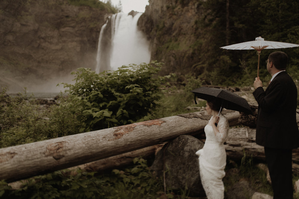 rainy waterfall elopement - W E D D I N G