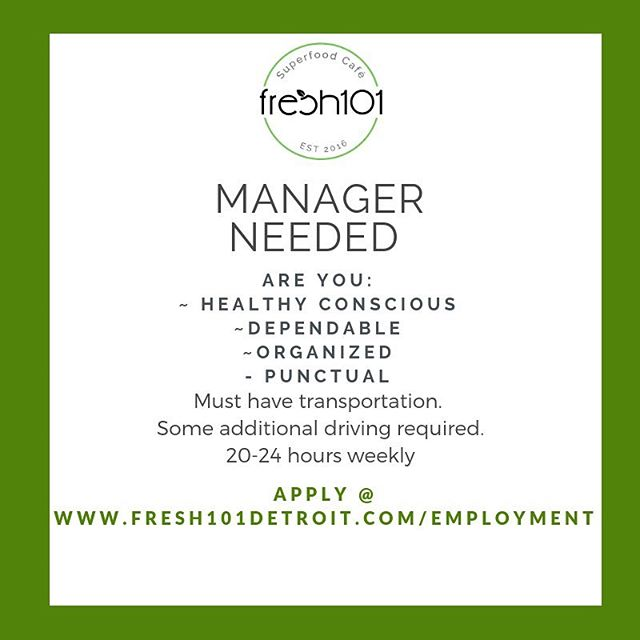 Looking for a management position in the wellness industry?  www.fresh101detroit.com#fresh101detroit #wellness #detroit #midtowndetroit