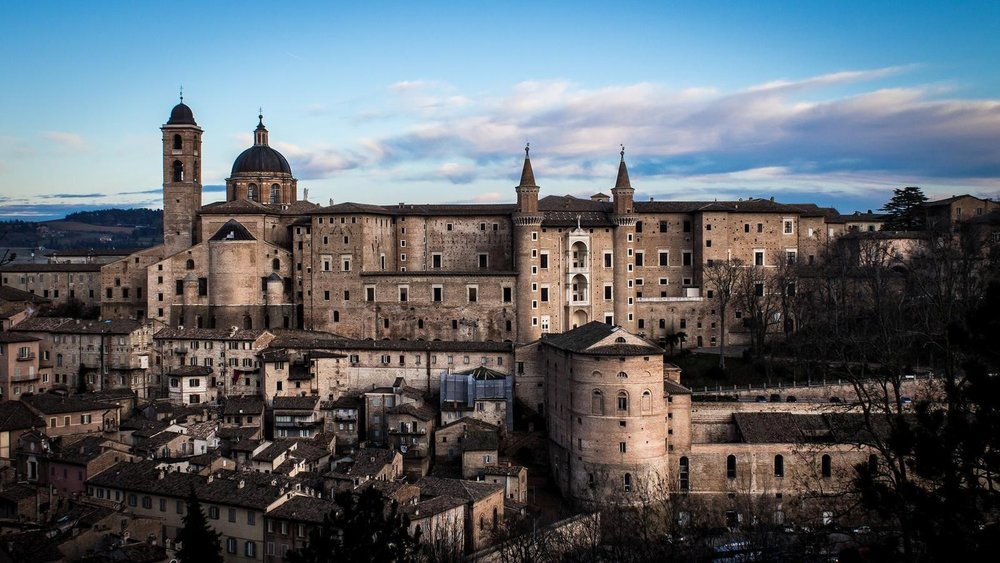 Looking out over Urbino's city centre.