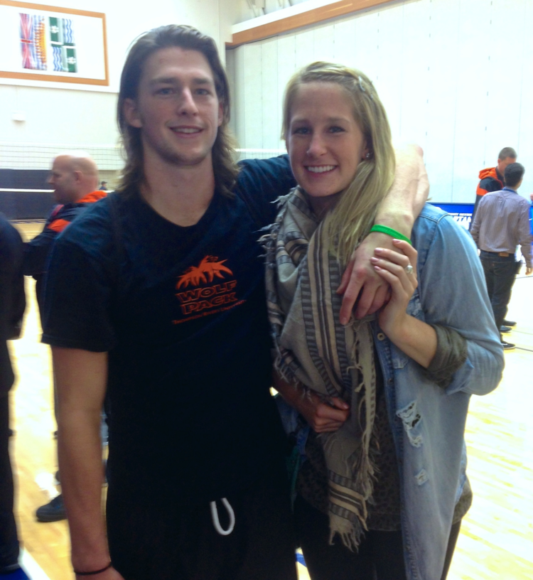 Little one and I after his match vs. Trinity Western University.