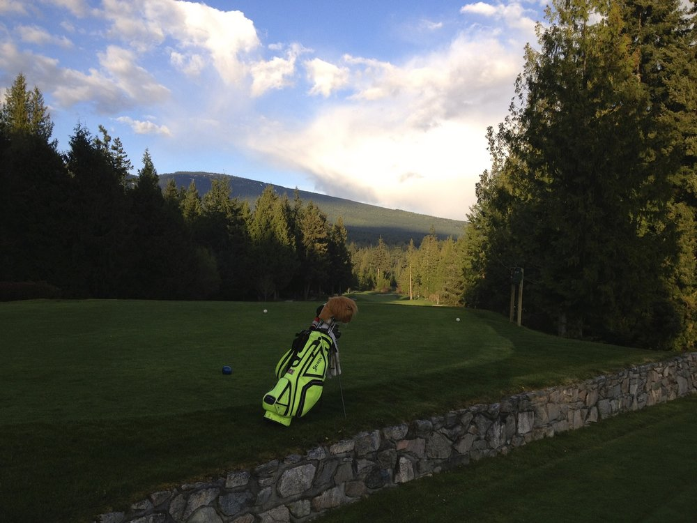 Connor's infamous obnoxiously-bright green golf bag that would be seen at the range or course every single day.