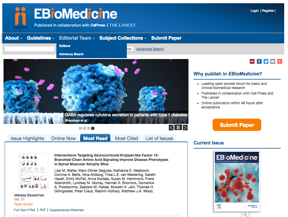 Our article is the most viewed over the last few weeks in EBioMedicine. - May 25th 2018