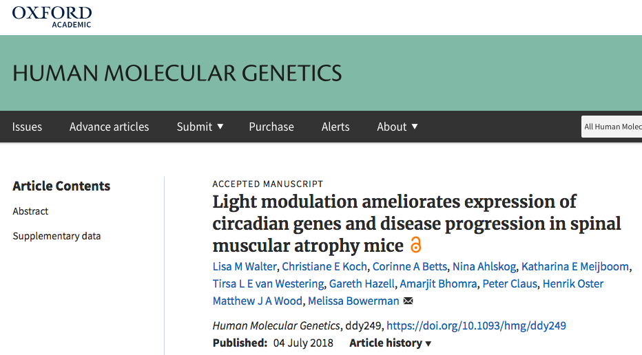 Our manuscript on circadian defects in SMA is accepted for publication in HMG! - June 29th 2018