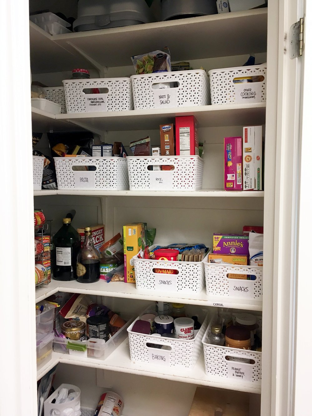 Kristin's nice and organized pantry! As you can see having some kind of bins is key!