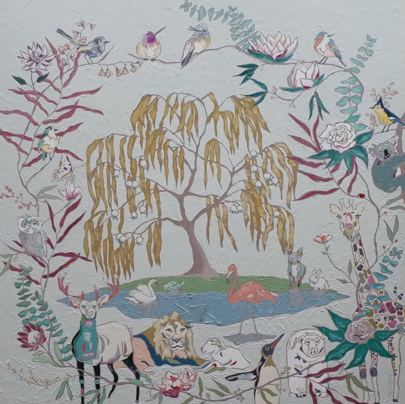 "Katrina Berg's painting of the Garden of Eden titled, ""Welcome Children to the Garden"""