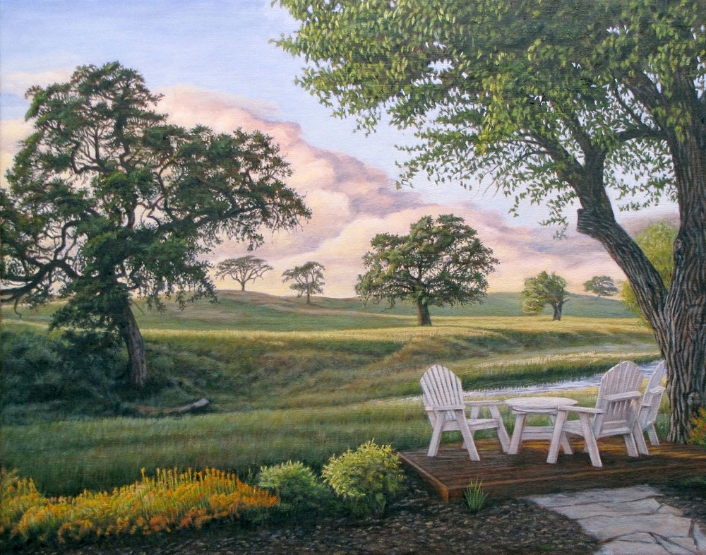 """Marc's Backyard""                                         by Dennis Curry   A serene setting."