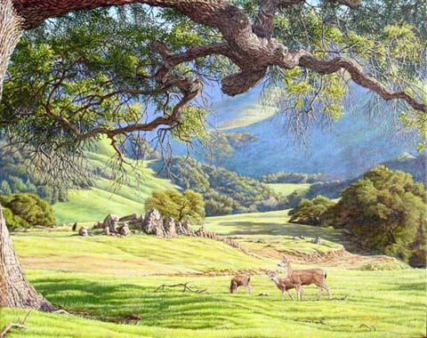 """View of the Middle Kingdom""  by Dennis Curry   The coastal hills of California come to verdant life with winter rains after the dry brown months of summer."