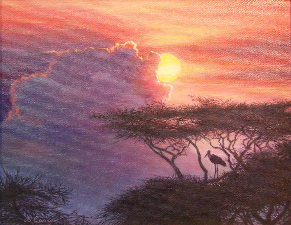"""Sunset Sentinel""   by Dennis Curry    A Maribou Stork stands watch as the sun sets on the Serengeti."