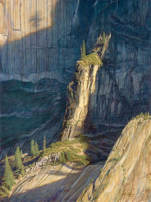 """""""A Touch of Light""""   by Dennis Curry    A touch of light momentarily illuminates this buttress at the base of Yosemite's famous Half Dome."""" This original work is also available as a full size Oil on Gesso Board."""