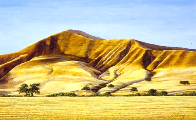 """Golden Hills""   by Dennis Curry    The strong afternoon light reveals the sculptural beauty of these low, eroded hills north of Paso Robles."