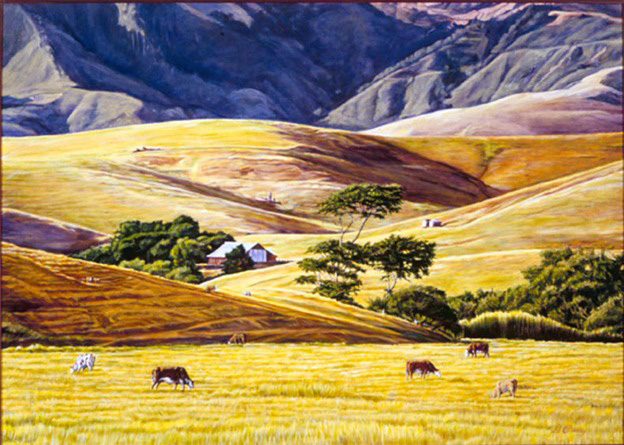 """Green Valley""   by Dennis Curry    An old barn nestles among the rolling hills of California's coastal range."