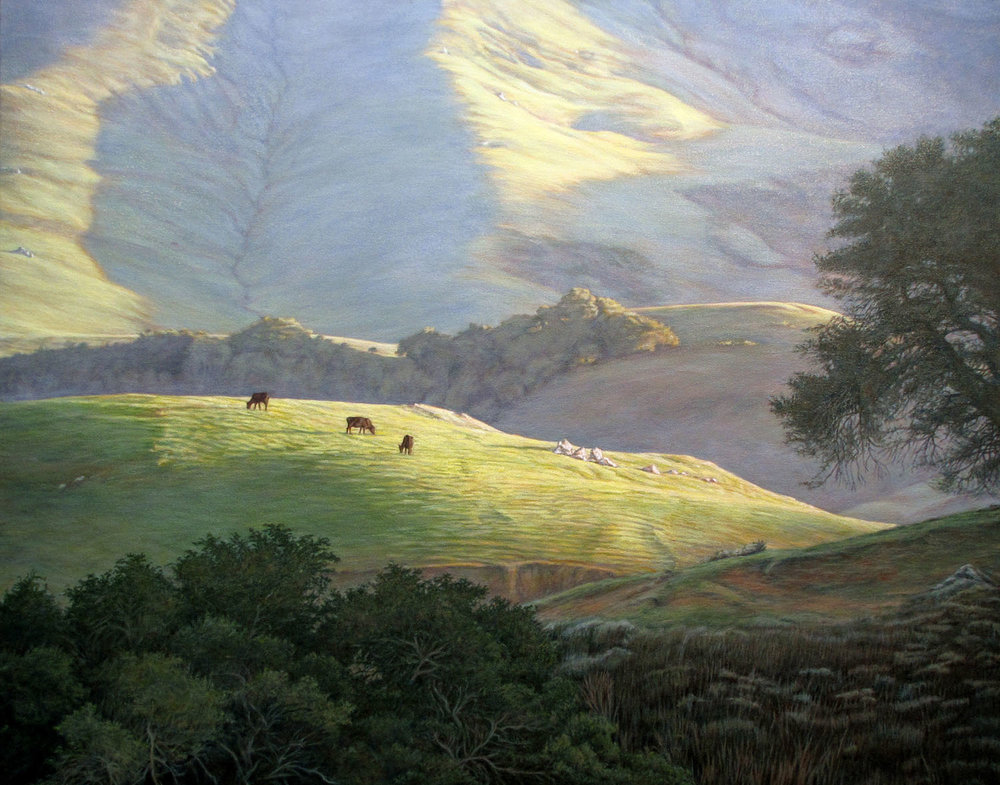"""High Pasture""   by Dennis Curry    The hills of the Santa Lucia range on the coast of central California turn green with the winter rains providing fresh grass for the local cattle and beautiful vistas along highway 46 west."