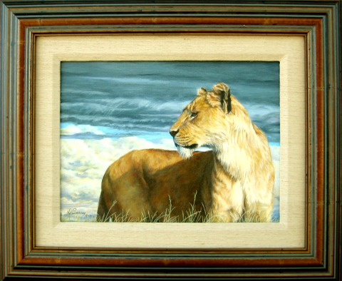 """""""Serengeti Moods""""                     ~SOLD~    by Dennis Curry    Young lioness."""