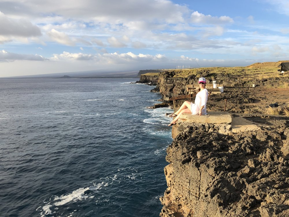 Enjoying the breathtaking views at the cliffs edge of South Point.