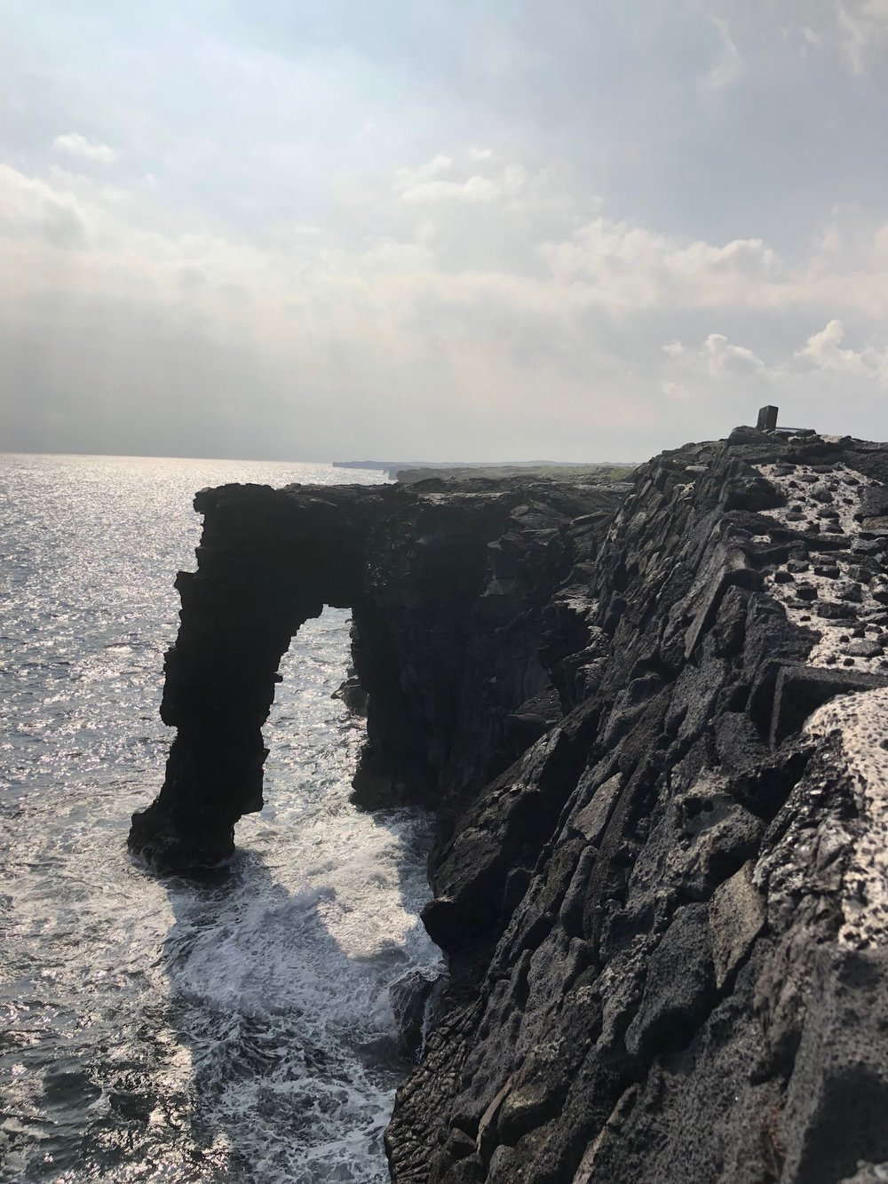 view from above of the Hōlei Sea Arch at Hawaii's Volcanos National Park.