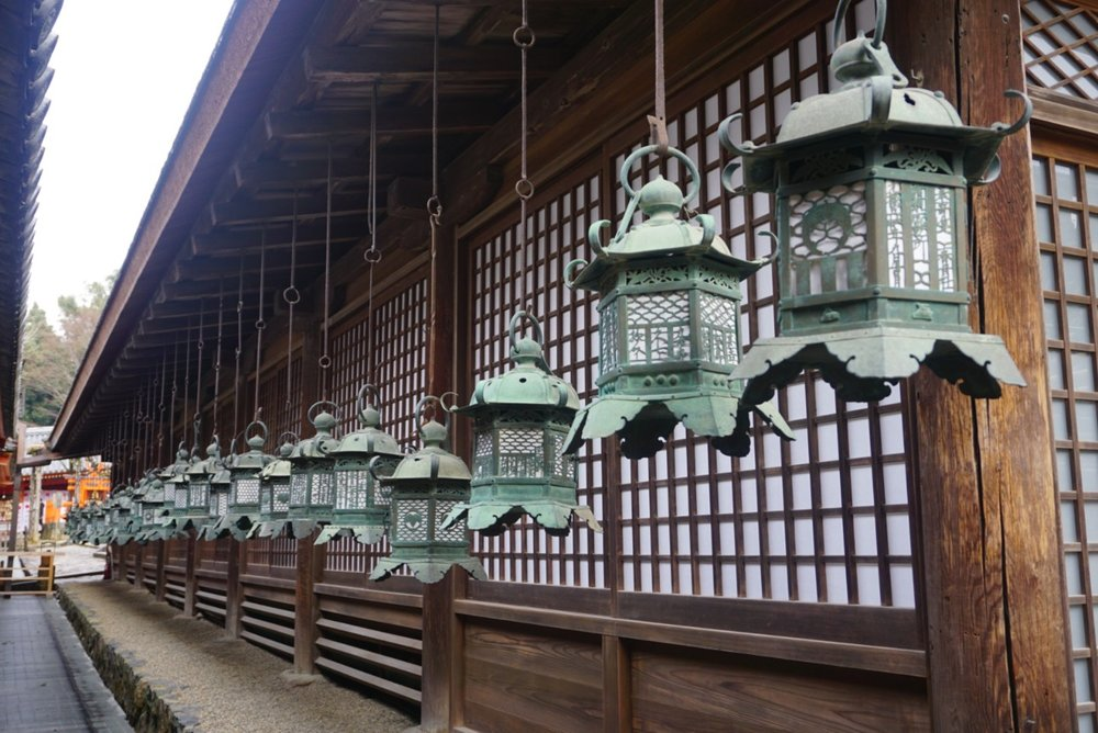 Photo of the lanterns of a shrine in Nara, Japan.