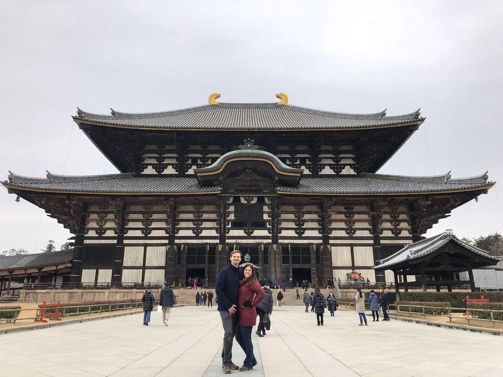 Matt and Kelly visit Tōdai-ji temple in Nara, Japan.