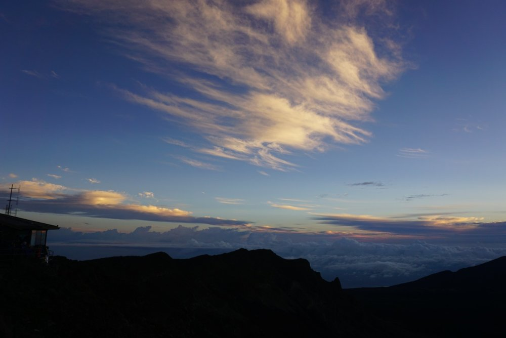 View of Haleakala crater at sunrise