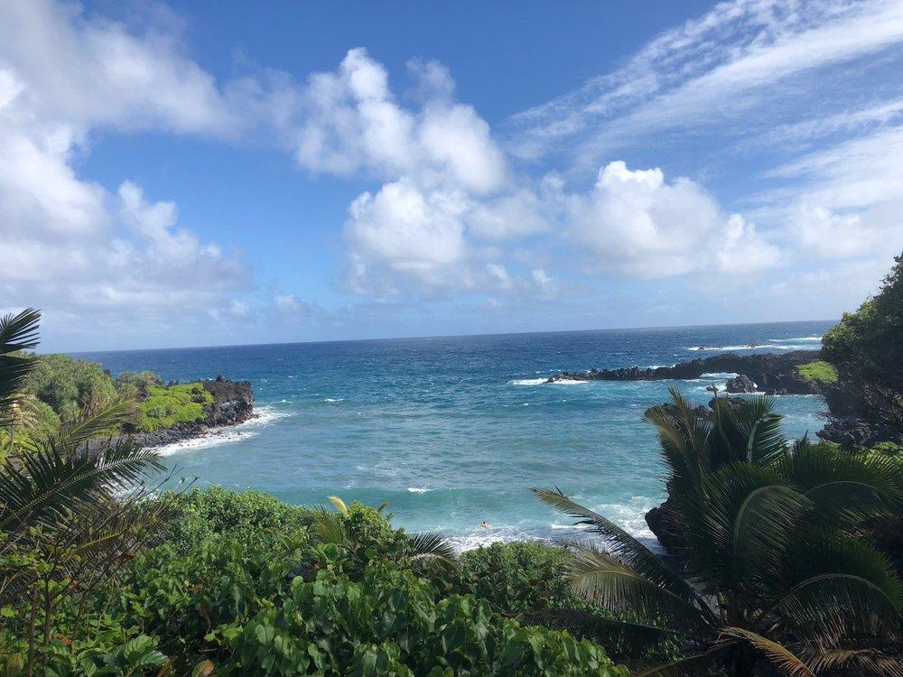View of the beach at Wai'napanapa State Park, Maui.
