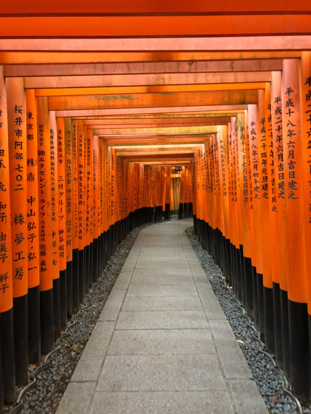 The Torii gates at the Fushimi Inari-Taisha shrine that have Japanese writing on them indicate the date or completion of original wish to Inari the Shinto god of rice and business.