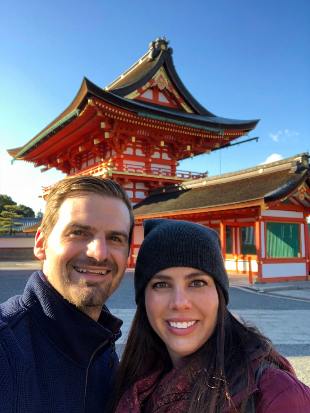 Matt and Kelly start out their early morning at the entrance to the Fushimi Inari-Taisha Shrine in Kyoto, Japan.