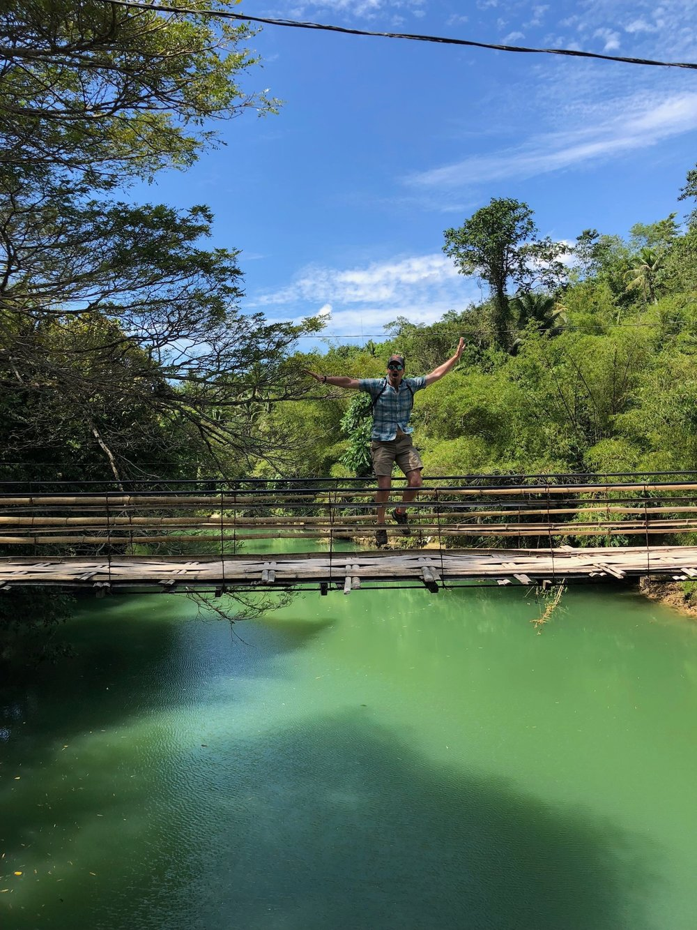 Suspension bamboo bridge in Bohol, Philippines.