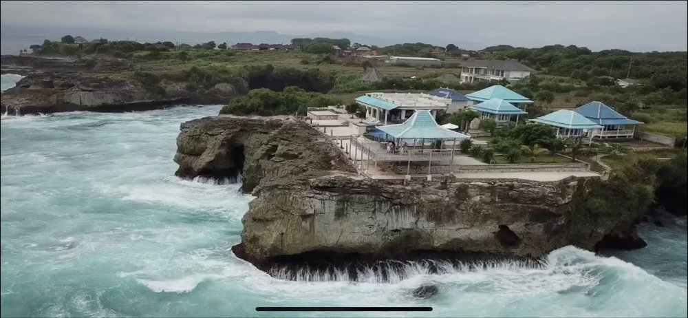 Drone shot of Cliff Park or sunset point on Nusa Lembongan, Indonesia. boldlygotravel.com