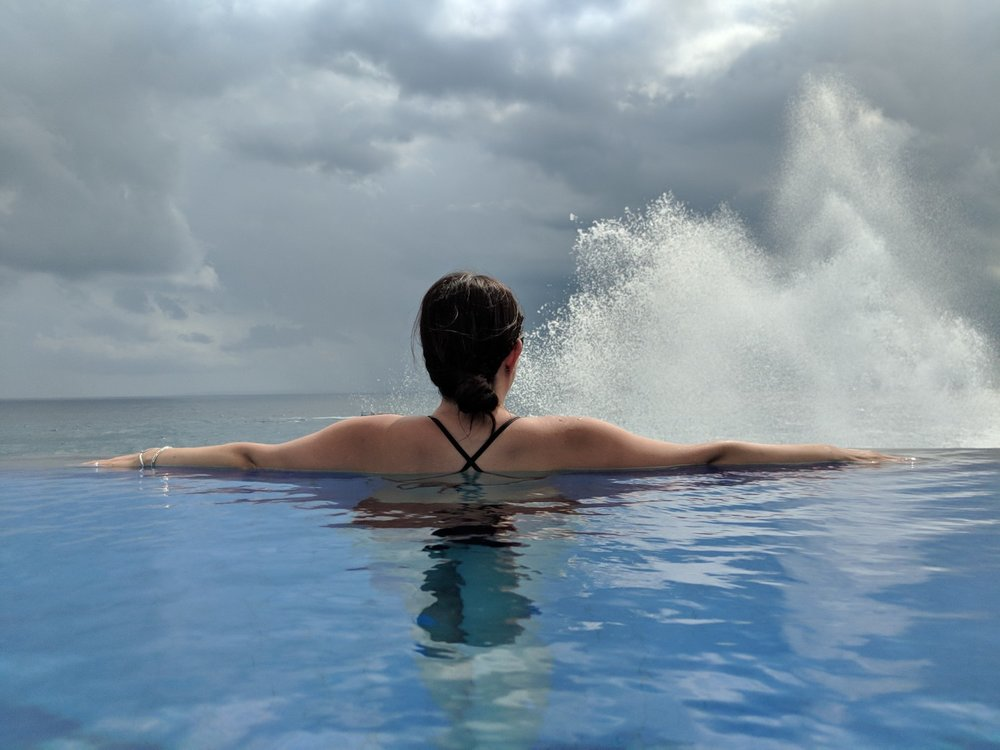 Sitting at Cliff Park Infinity pool as the tidal waves hit the sea wall below. boldlygotravel.com