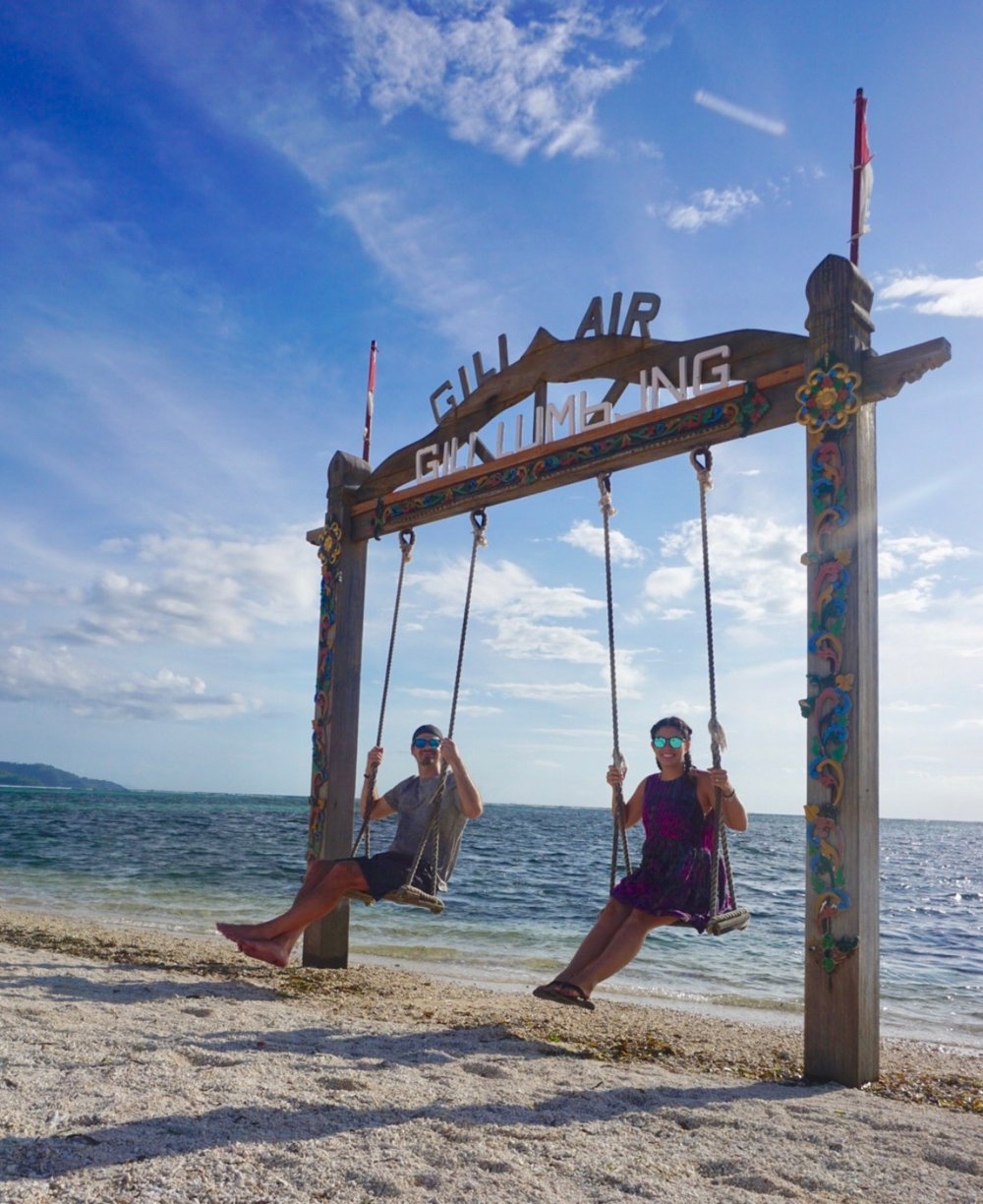 Gili Air swings on the beach are perfect for relaxing. boldlygotravel.com