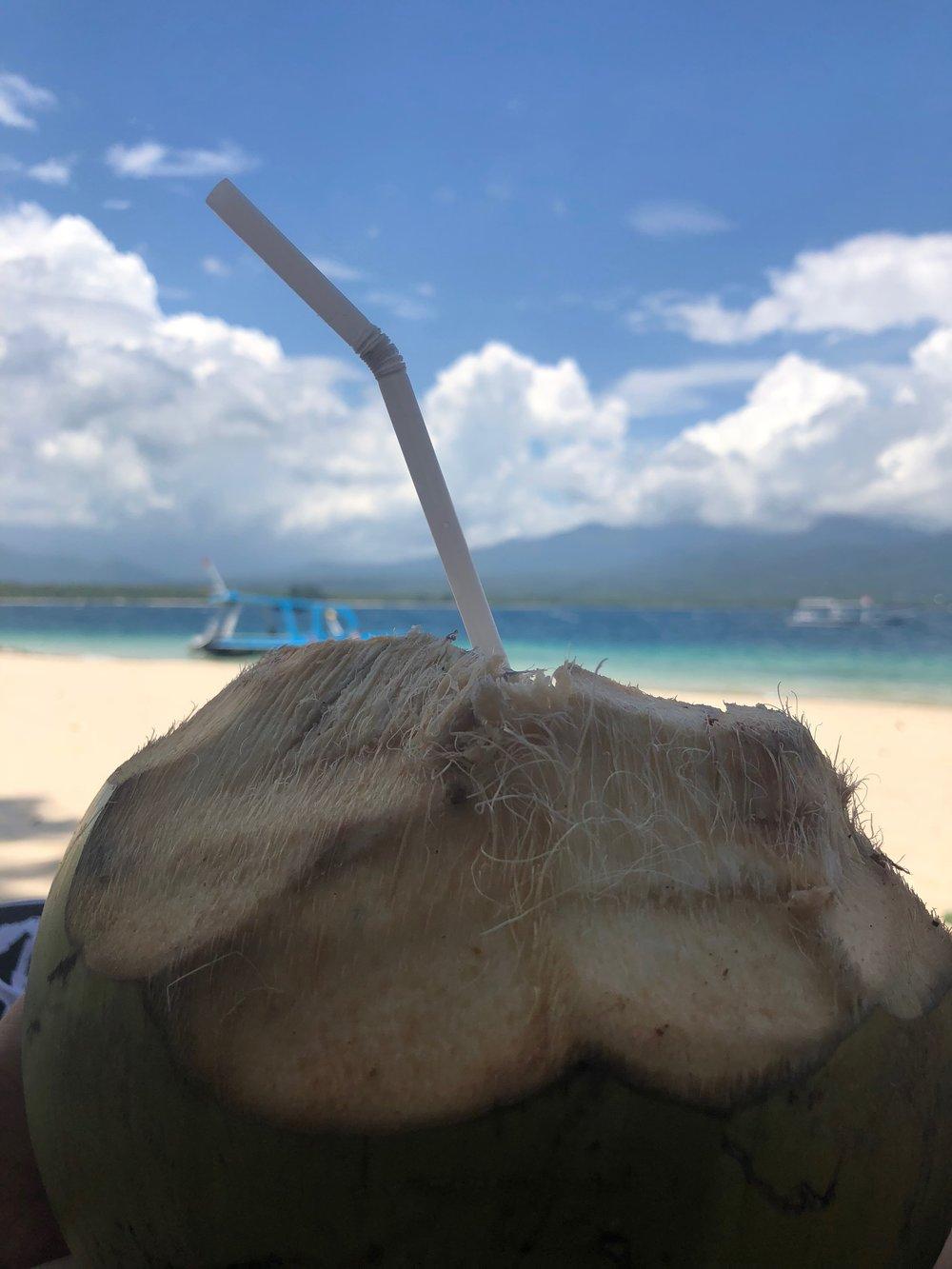 Gili Air coconut on the beach. boldlygotravel.com