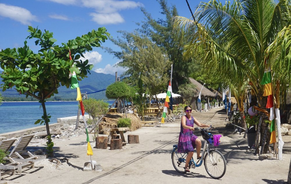 Biking around the island of Gili Air takes about two hours. boldlygotravel.com
