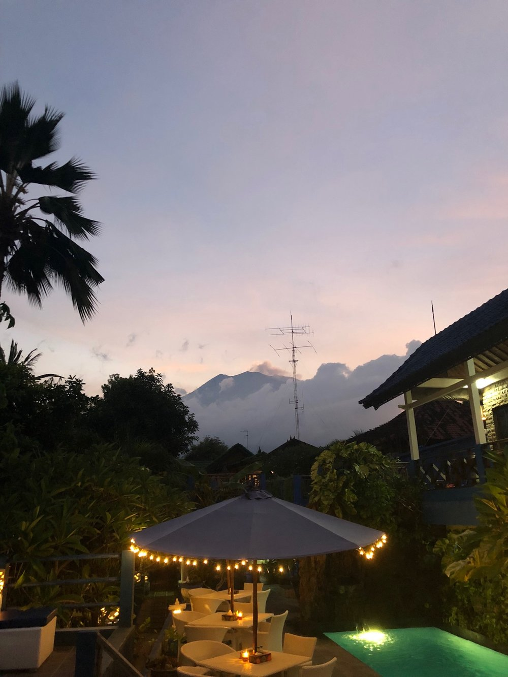 View of Agung from hotel in Tulamben.