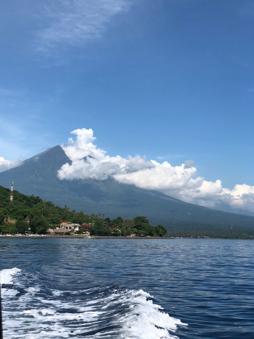 view of mount Agung from the water, Bali. Boldlygotravel.com