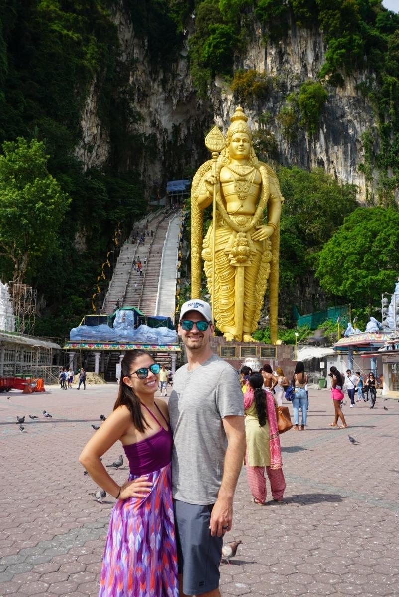 Kelly and Matt at Batu Caves outside of Kuala Lumpur. boldlygotravel.com