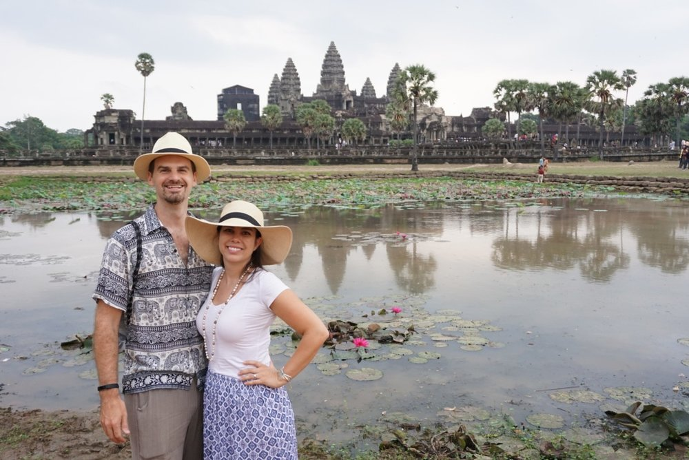Matt and Kelly at the reflection pond at Angkor Wat, Cambodia. boldlygotravel.com