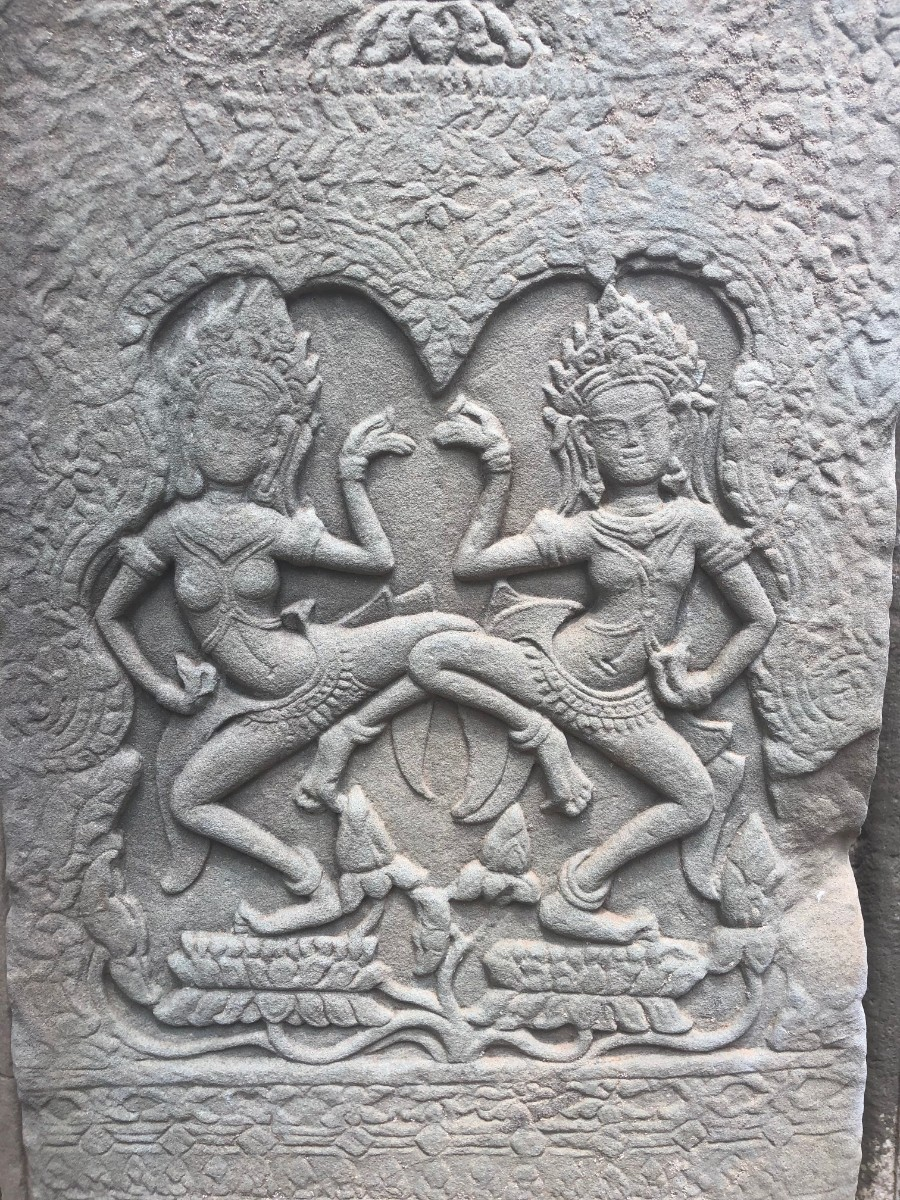 Apsaras - in Khmer mythology are nymphs or fairy like beautiful, supernatural female beings. They are youthful and elegant, and superb in the art of dancing, they can be found around the Angkor region adorned on the walls dancing for the deities the temples honor.