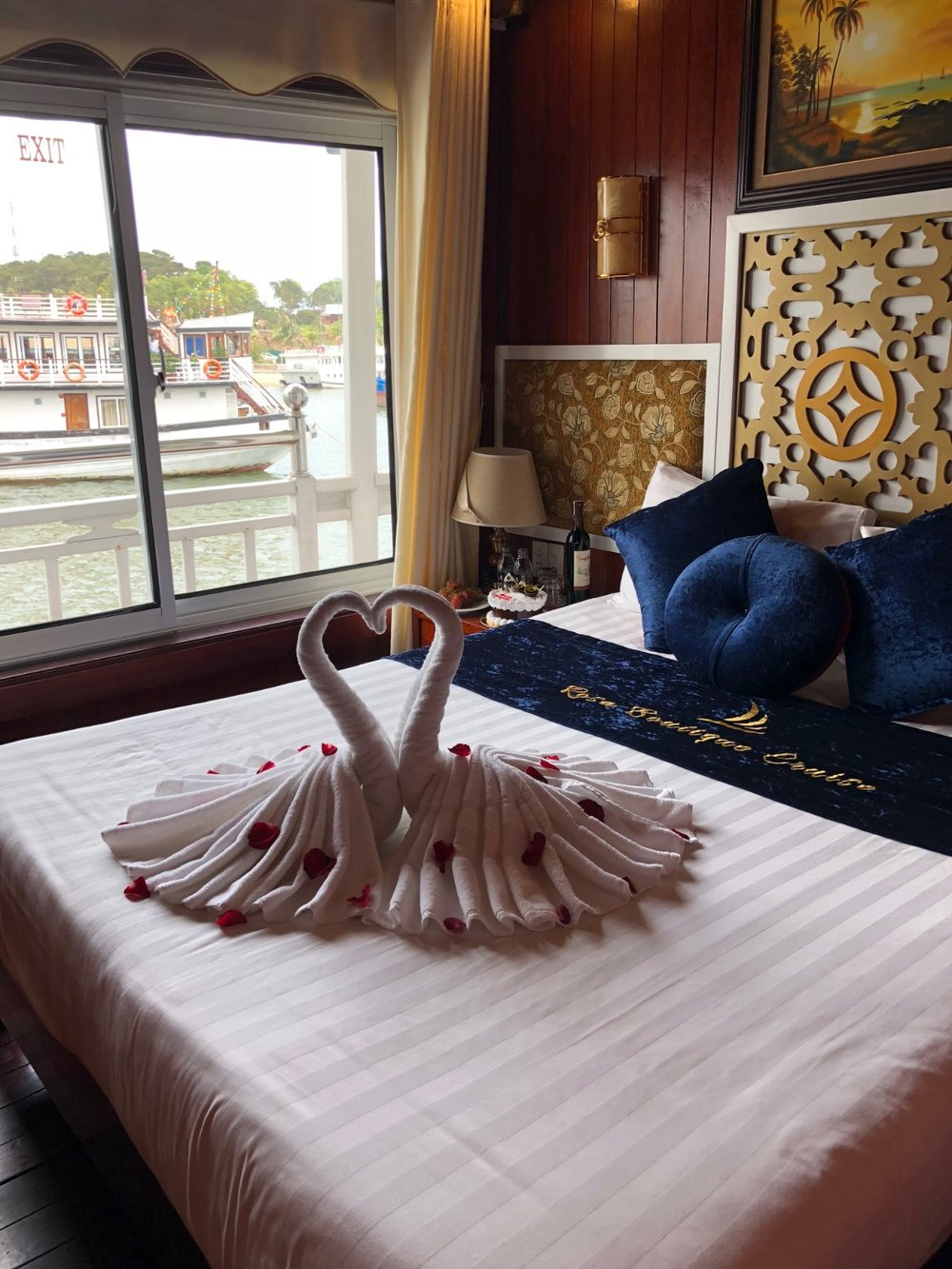 Our Honeymoon room on our three star boat in Ha Long Bay, Vietnam. boldlygotravel.com