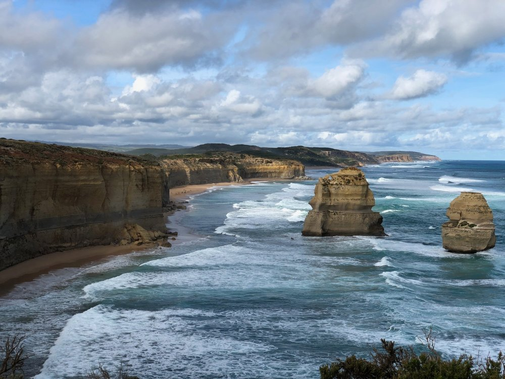 "View of two of the ""Twelve Apostles"" on the Great Ocean Road outside of Melbourne, Australia. boldlygotravel.com"