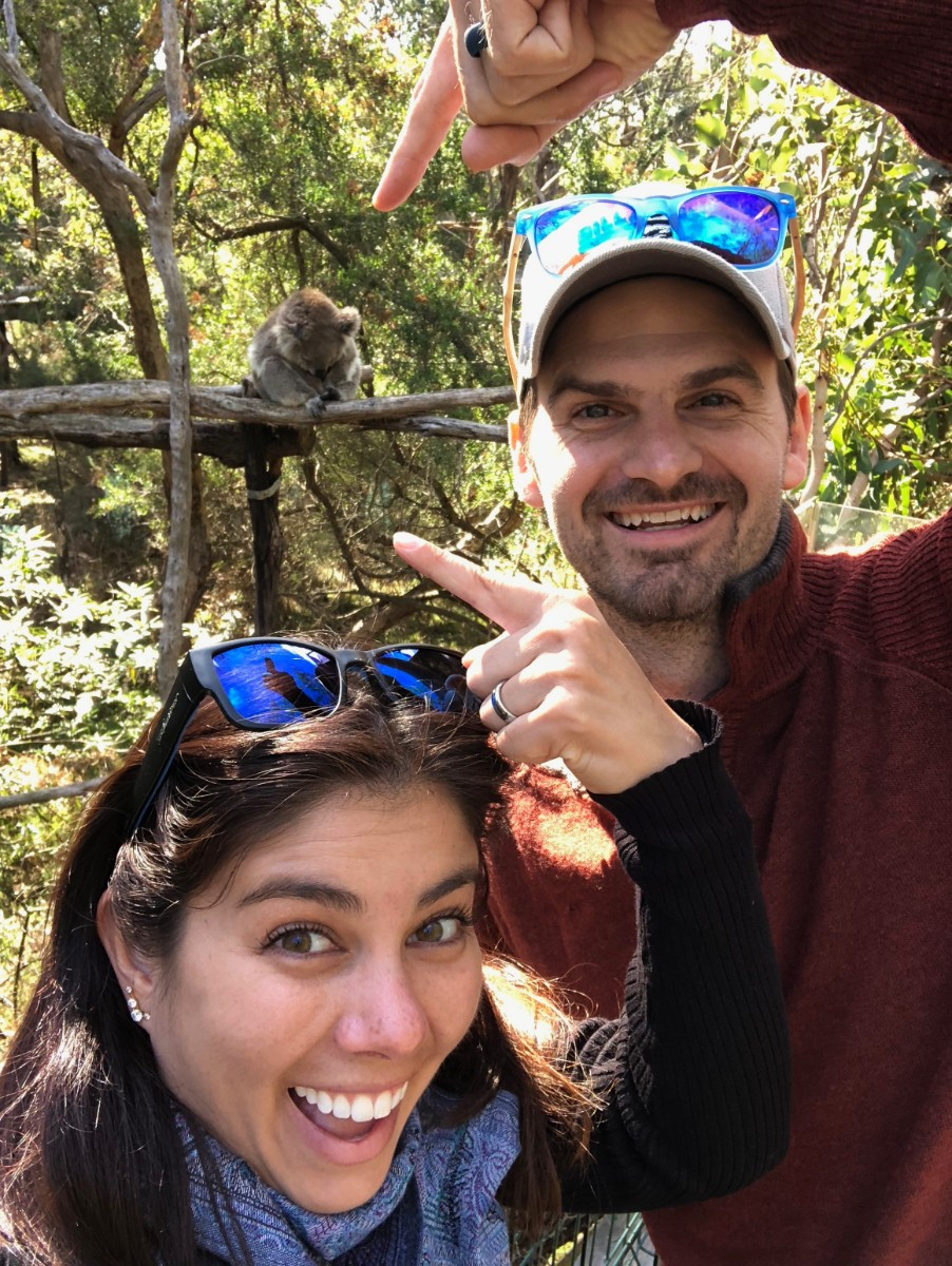 Matt and Kelly get close to a koala in a sanctuary on Phillip Island, Australia.