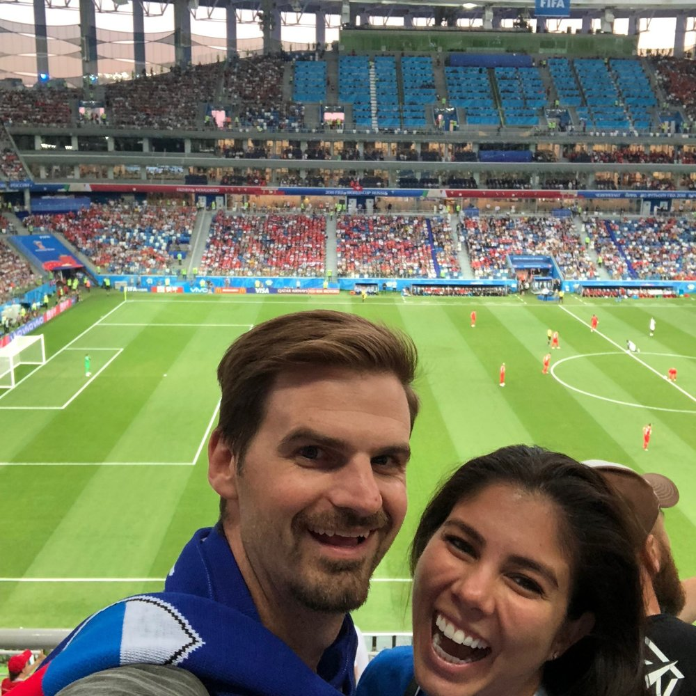 Kelly and Matt at a World Cup game 2018 in Russia. boldlygotravel.com