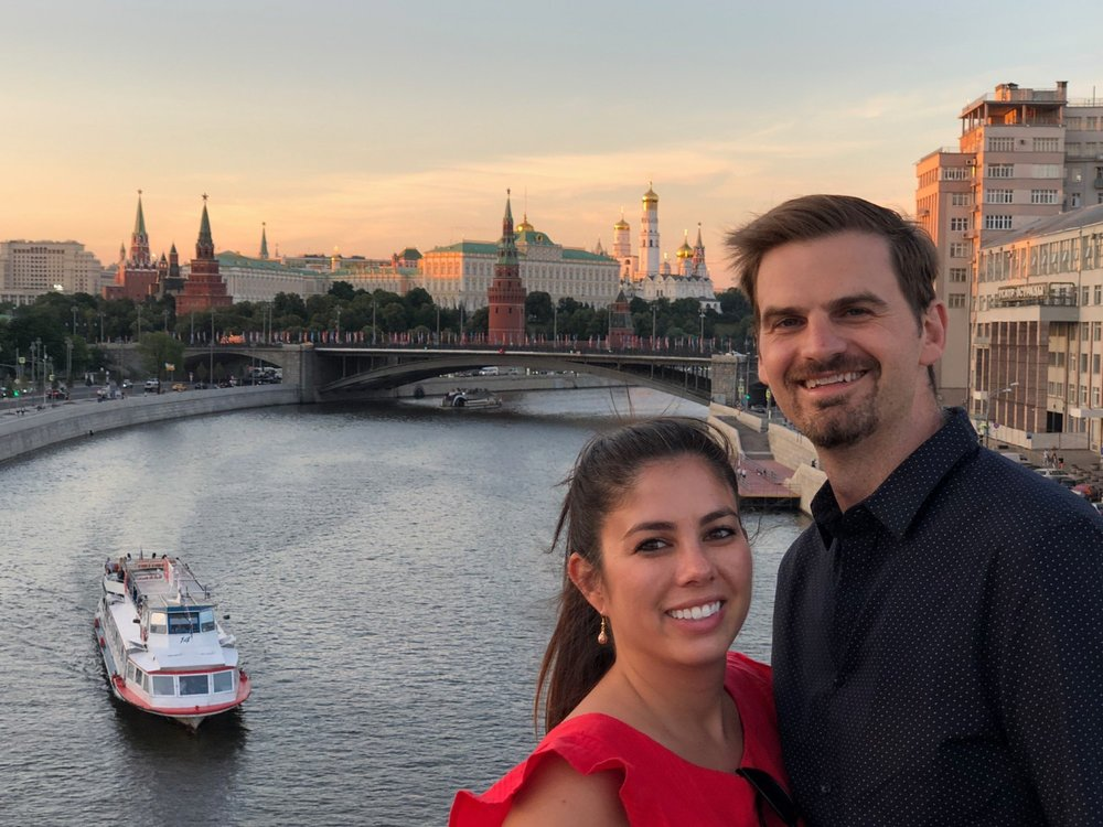 Matt and Kelly enjoy the sunset view of Moscow, Russia. boldlygotravel.com