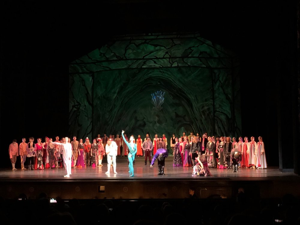 the cast of the ballet The Stone Flower bows at the end in Moscow, Russia. boldlygotravel.com