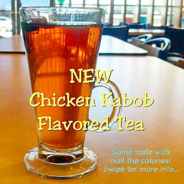 You asked for it, now it's here... our new kabob-flavored teas! Same great taste of our kabobs with half the calories, don't forget to swipe for more info... #sayhellotochello . . . #aprilfools #aprilfoolsday #prank #kabobs #tea #Chelloteabar #teabar #sayhellotochello #chickenkabob #funny #jokes #pranks