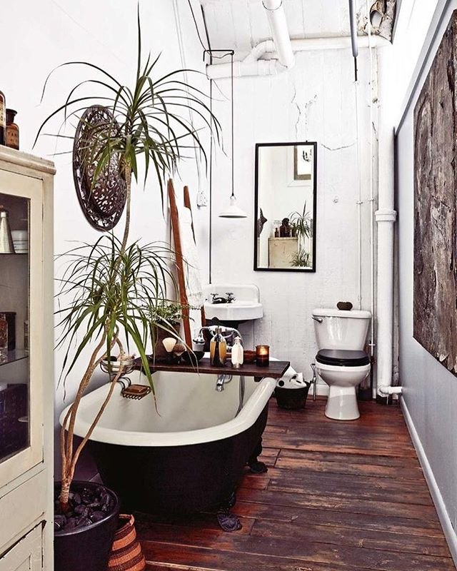 Saturday Inspiration ✨ B A T H R O O M  G O A L S ! Someday... someday I will have a claw foot tub.  With hardwood floors and bright walls and windows.  And with oh so many plants that will benefit from my way-too-long steamy showers.  Someday I will build my own home from the bottom up.  I'm saying it here so it's written somewhere.  Someday. . Photo Credit: unknown . . . . #thefunkyloft #sodomino #anthrohome #bohoismyjam #bohochic #travelgirl #travelblogger #interiordecor #bohodecor #interiordesign #interiordesigner #designblogger #mybohemianabode #flashesofdelight #bathtime #bathinspo #bathroomdecor #plantlife  #ihavethisthingwithplants #bathroomgoals #bathgoals #homegoals #interiorinspo #bathroominspo #thenewbohemians #jungalowstyle #indoorjungle #urbanjunglebloggers #dreambathroom #dreamhome