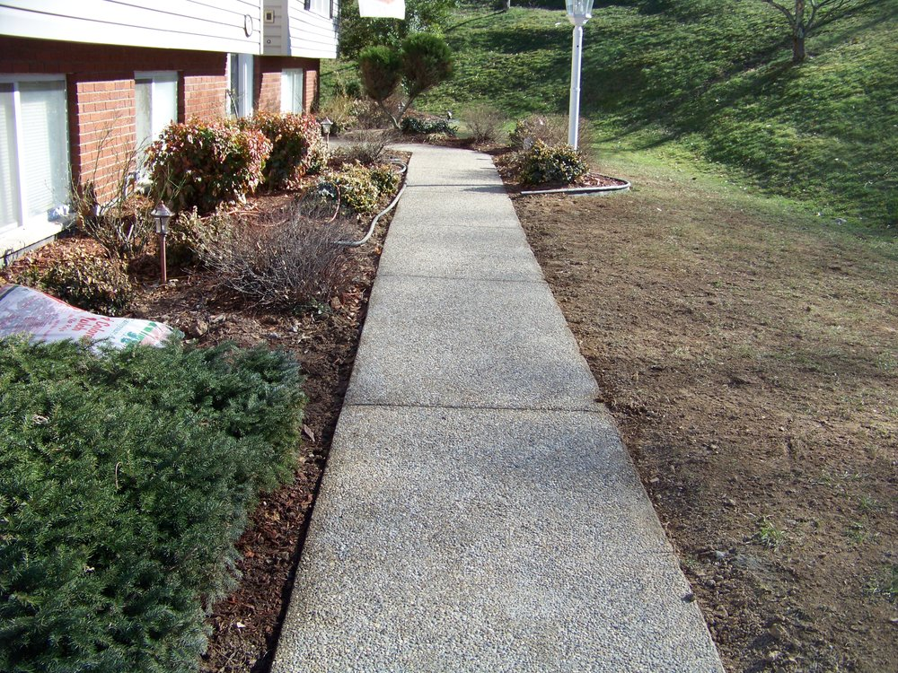 Exposed aggregate concrete sidewalk