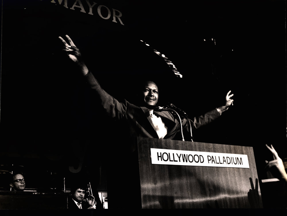 2. L.A. City Councilman Tom Bradley at the Hollywood Palladium on the election night for his run for Los Angeles Mayor, 1969 - Photo credit - California African American Museum copy.jpg