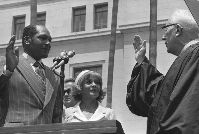 1. Bradley being sworn in as mayor by Justice Earl Warren - July 2, 1973 - UCLA SPECIAL COLLECTIONS - clusc_8_1_00327988a_j.jpg