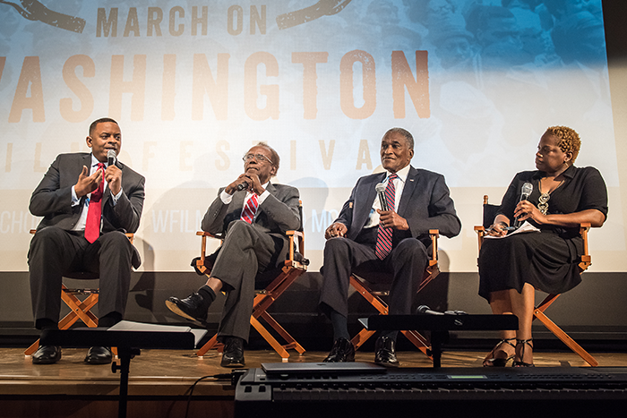 March on Washington Film Festival closing night film and panel, Smithsonian National Center of American History, July 22, 2017. Panelists: Former Mayor of Charlotte, North Carolina Anthony Foxx; former Mayor of Gary, Indiana Richard Hatcher; and former Mayor of Tuskegee, Alabama Johnny Ford. Opening remarks by Washington DC Mayor Muriel Bowser.